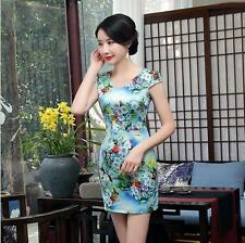 new blue chinese style women's silk Evening mini  Dress Ball Cheongsam S- XXL