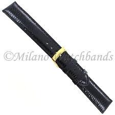 18mm Morellato Black Genuine Lizard Padded Stitched Watch Band 718
