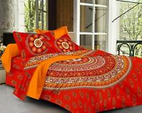 Red Mandala Bedspread Indian Bedding Piilow Set 100% Cotton Bed Cover
