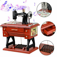 Vintage Music Box Mini Sewing Machine Style Mechanical Birthday Table Decor FAN