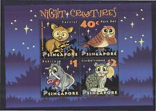 SINGAPORE 2003 NIGHT CREATURES SOUVENIR SHEET OF 4 STAMPS SC#1053a IN FINE USED