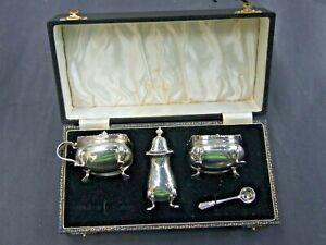 Antique Sterling Silver Cruet Set Salt,Pepper, Mustard Pot English Birmingham VG
