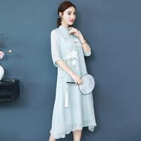 New Women's Chinese Vintage Hanfu Qipao Dress Flower Ball Fall Formal Cheongsams