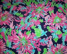 RARE LILLY PULITZER FABRIC*TRIPPIN & SIPPIN*NAVY BLUE*PINK GREEN SEA CORAL 17X17