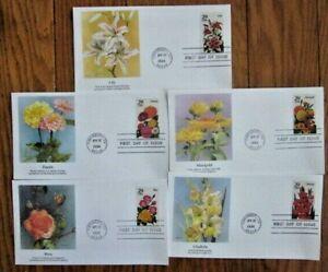 FLOWERS 1994 COMPLETE SET 5 FLEETWOOD CACHET FDCS MARIGOLD LILY ROSE ZINNIA GLAD