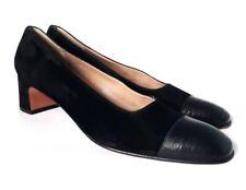 Salvatore Ferragamo 10 AA Black Suede Lizard Leather Cap Toe Women's Shoes