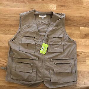 Outdoor Vest Fishing Hunting Safari 12 Pocket OlympinA Men's 2XL XXL NWT Brown