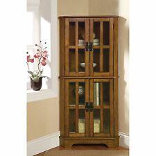 Corner Curio Cabinets Oak China Display Showcase 4 Shelf Glass Doors Storage