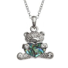 Tide Jewellery inlaid Paua shell teddy bear pendant with inset glass stones