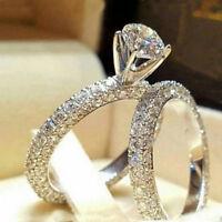 Women White Sapphire 925 Silver Ring Set Wedding Engagement Jewelry Gift Sz6-10