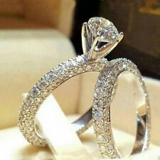 Women 925 Silver White Sapphire Ring Set Wedding Engagement Jewelry Gift Size 8