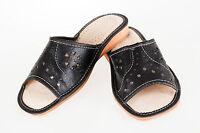 Womens Ladies 100% Natural Leather Slipper Mules Flip-flop Sandals Black