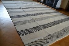 Large Kilim Rug Reversible Diamonds Stripes Wool - 150x240cm - Black Cream White