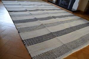 Large Kilim Rug Reversible Diamonds Stripes Wool - 150x240cm - Black Cream White
