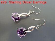 100% 925 Sterling silver earrings, CZ Dangle earring Amethyst. Aussie Seller 3
