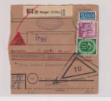 Bizone/Bauten, 94eg, MiF 128, NN-Paketkarte Haiger/Dillkr, 8.6.52