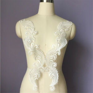 A Pairs Of Sewing Motif DIY Wedding Bridal Crafts Lace Applique Trim Embroidery