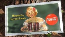 """1949 VINTAGE GREEN COCA COLA """"HOSPITALITY IN YOUR HANDS"""" FRAMED SIGN 3' x 1' 8"""""""