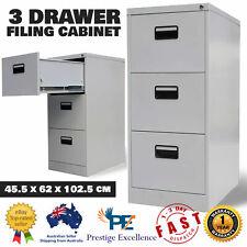 3 Drawer Filing Cabinet Home Office Documents Safe Steel File Storage Organiser