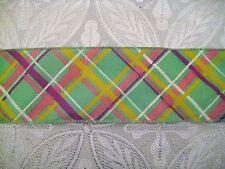 "$1.50/Yard Seafoam Green Pink Yellow Plaid 2 1/2"" Wired Ribbon by the Yard"
