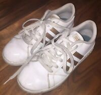 Adidas Cloudfoam Leather Sneakers Tennis Shoes White with Gold Stripes Women's 5