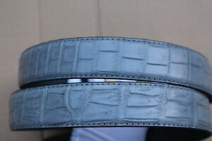 Gray Men's Belt Genuine Crocodile  Alligator Skin Leather Belt Handmade