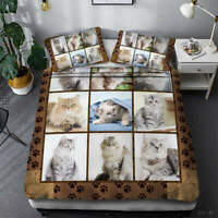 Great Lovely Cat 3D Quilt Duvet Doona Cover Set Single Double Queen King Print