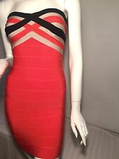 HERVE LEGER SALMON PINK STRIPED STRAPLESS BANDAGE DRESS SMALL