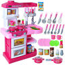 29'' Pretend Kitchen Play Set for Kids Cooking Food Toy Plastic Toddler Girl Kit