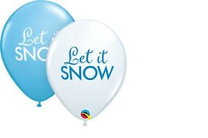 "10 BALLOONS new 11"" QUALATEX winter LET IT SNOW bue white WONDERLAND frozen fun"