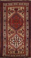 Geometric Semi-Antique Meshkin Traditional Area Rug Wool Handmade Oriental 3'x6'