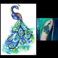 Blue Peacock Eye Feather Tattoo Temporary Stickers Body Art 3D Tattoo Waterproof