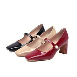 Ladies' Block Heel Shoes Patent Leather Square Toe Mary Janes Pumps UK Size 1~12
