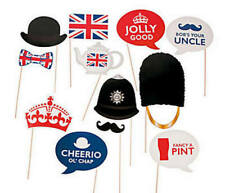 Pack of 12 - British Party Photo Props Birthday Photo Booth Paper Party Decor