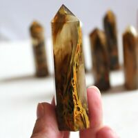 Rare Natural Yellow Lemurian Citrine Quartz Crystal Rough Point Column Polished