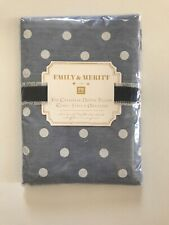 Pottery Barn Teen Emily & Meritt The Chambray Dottie Pillow Cases Blue NWT
