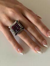 Heidi Daus Crystal Statement Ring Purple Swarovski Crystals Art DecoSize 8.25