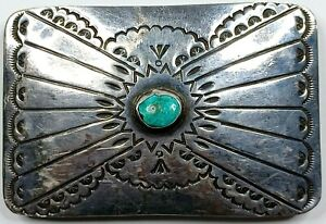 Native American Style Sterling Silver Belt Buckle W/ Turquoise Stone