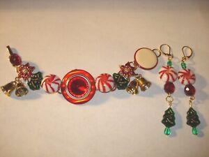 Vintage Upcycled Rhinestone Glass Enamel Christmas Bells Trees Bracelet n earrin