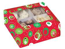 NATALE CUPCAKE BOX contiene 9 Cup Cakes chiaro COPERCHIO Cupcake scatola di presentazione