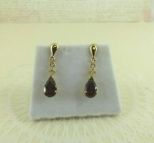 New 9ct Gold Garnet Drop Earrings