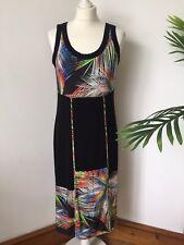 Doris Streich Stunning Jersey Palm Leaves Dress Size 38 Uk 12