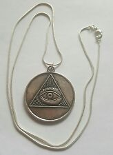 ALL SEEING EVIL EYE OCCULT TETRAGRAMMATON MAGICK AMULET S.SILVER NECKLACE LUCK