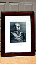ITALIAN OLD ENGRAVING PORTRAIT OF MUSSOLINI,FRAMED