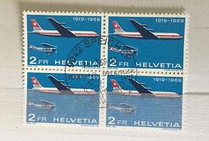 Switzerland 1972 Pro Aero Block Of 4 CTO Speicher Cat £17