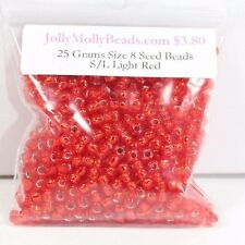 25 Grams Size 8/0 Silver Lined Light Red Miyuki Round Glass Seed Beads New!