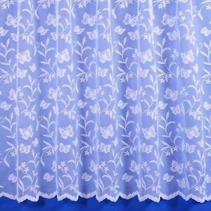 Meadow Butterfly Floral Net Curtain - Finished In White - Preset Sizes