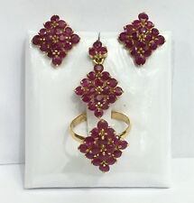 14k Solid Gold Diamond Shape Set Earrings Ring Pendant, Natural Ruby7.5TCW