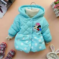 Kids Minnie Mouse Jacket Coat Girls Beautiful Winter Hoody Hoodie Gift BNWT Blue