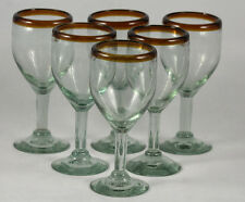 Amber Rim Wine Glasses Mexican Hand Blown set 6 Glassware Mexico Recycled Glass